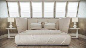 Intérieur élégant de luxe moderne de chambre à coucher avec les fenêtres à angles illustration de vecteur