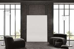 Intérieur, affiche, et fauteuils noirs de salle d'attente Photo stock