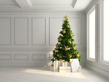 Intérieur avec l'arbre de Noël et l'illustration des boîte-cadeau 3d Photo libre de droits