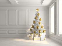 Intérieur avec l'arbre de Noël et l'illustration des boîte-cadeau 3d Images stock