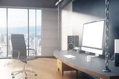 Intérieur avec la vue de lieu de travail et de ville illustration stock