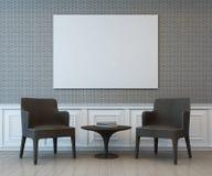 Intérieur avec le cadre vide d'art sur le mur du salon illustration stock