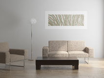 Intérieur avec le fauteuil et la table de sofa Images libres de droits