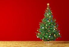 Intérieur avec le rendu de l'arbre de Noël 3d Photo libre de droits