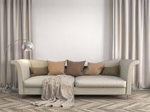 Intérieur avec le sofa illustration 3D Photo stock