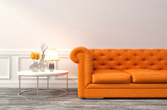 Intérieur avec le sofa orange illustration 3D illustration de vecteur