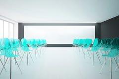 Intérieur avec les chaises et le tableau blanc bleus Photos stock