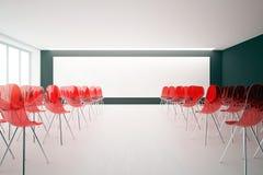 Intérieur avec les chaises et le tableau blanc rouges Photographie stock libre de droits