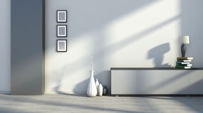 Intérieur avec les photos, les vases et les lampes de table vides sur les livres illustration libre de droits