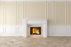 Intérieur beige classique moderne avec la cheminée, panneaux de mur, plancher en bois illustration libre de droits