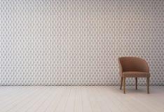 Intérieur blanc avec le modèle et le fauteuil de décoration de mur image libre de droits