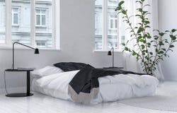 Intérieur blanc bien aéré lumineux de chambre à coucher illustration libre de droits