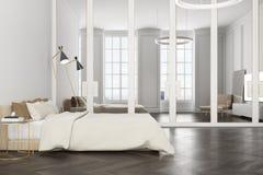Intérieur blanc de chambre à coucher, un poste TV Images stock