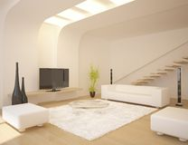 Intérieur blanc de conception moderne Photo libre de droits