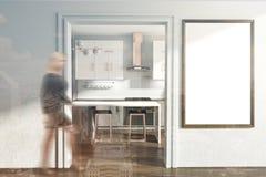 Intérieur blanc de cuisine, affiche modifiée la tonalité Images libres de droits