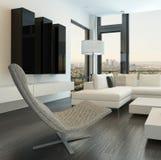 Intérieur blanc de luxe de salon avec les meubles modernes Photo stock