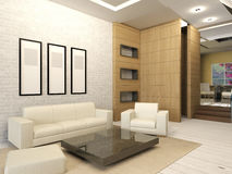 Intérieur blanc de salon dans la conception moderne Images stock