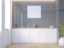 Intérieur blanc et noir de cuisine de brique avec les dessus de table blancs et une usine mise en pot près du mur illustration du image stock