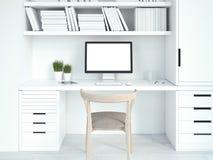 Intérieur blanc moderne avec le lieu de travail rendu 3d Images stock