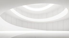 Intérieur blanc moderne de l'espace avec l'image en spirale de rendu de la rampe 3d Images stock