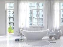 Intérieur blanc pur de salle de bains avec la baignoire distincte Photos stock