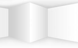 Intérieur blanc vide abstrait avec des coins et des murs vides Images libres de droits