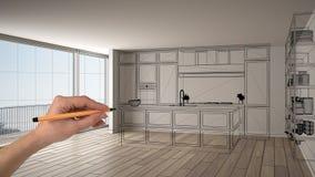 Intérieur blanc vide avec le plancher de parquet et la grande fenêtre panoramique, main dessinant la conception faite sur command illustration de vecteur