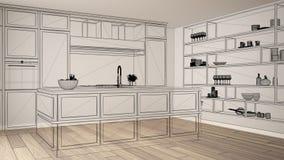 Intérieur blanc vide avec le plancher de parquet, projet de conception fait sur commande d'architecture, croquis à l'encre noire, illustration libre de droits