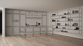 Intérieur blanc vide avec le plancher de parquet, projet de conception fait sur commande d'architecture, croquis à l'encre noire, illustration de vecteur