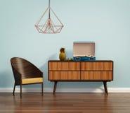 Intérieur bleu avec la chaise et le buffet de la moitié du siècle