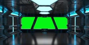 Intérieur bleu de vaisseau spatial avec les éléments vides de rendu de la fenêtre 3D Images stock