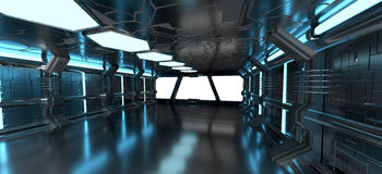 Intérieur bleu de vaisseau spatial avec les éléments vides de rendu de la fenêtre 3D Photos stock