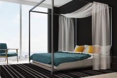 Intérieur bleu et jaune de chambre à coucher de literie Photographie stock libre de droits