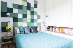 Intérieur bleu et vert de chambre à coucher Image stock