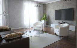 Intérieur classique avec le sofa en cuir Photo libre de droits