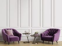 Intérieur classique avec les fauteuils tuftés Murs blancs avec des bâtis, arête de hareng de parquet de plancher illustration de vecteur