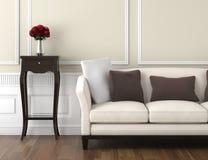 Intérieur classique beige et blanc Photo stock