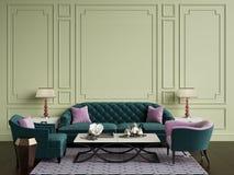 Intérieur classique dans des couleurs beiges et roses Sofa, chaises, sidetables illustration libre de droits