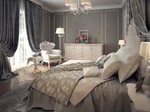 Intérieur classique de chambre à coucher Images libres de droits