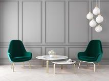 Intérieur classique moderne avec les fauteuils, la lampe, la table, les panneaux de mur et le plancher en bois illustration stock