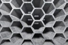 Intérieur concret abstrait avec la structure en nid d'abeilles Photos stock