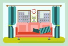 Intérieur confortable de salon avec des meubles Vecteur de bande dessinée Photographie stock