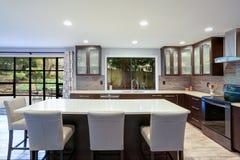 Intérieur contemporain mis à jour de pièce de cuisine dans les tons blancs et bruns photo stock