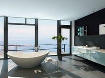 Intérieur contemporain ultramoderne de salle de bains de conception avec la vue de mer Photos libres de droits