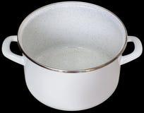 Intérieur courant de pot émaux par blanc d'isolement sur le fond noir Photo libre de droits