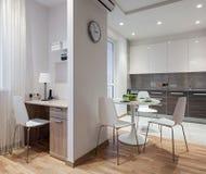 Intérieur d'appartement moderne dans le style scandinave avec la cuisine Image stock