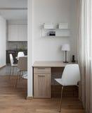 Intérieur d'appartement moderne dans le style scandinave avec le workplac Photos stock