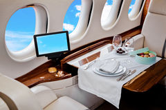 Intérieur d'avion d'avion d'affaires Photographie stock libre de droits