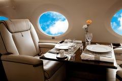 Intérieur d'avion d'avion d'affaires Photos stock