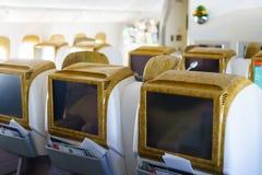 Intérieur d'avions de Boeing 777-300ER d'émirats Photographie stock